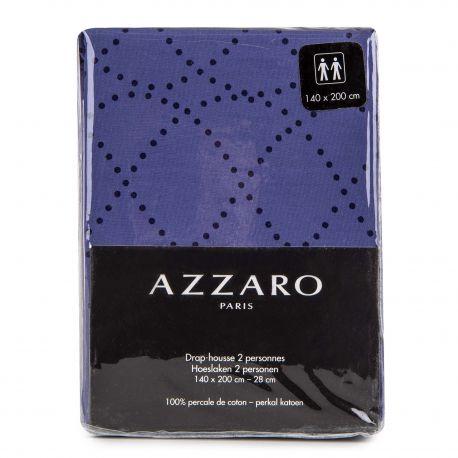 Drap housse bleu marine 140x200cm 100% percale de coton AZZARO marque pas cher prix dégriffés destockage
