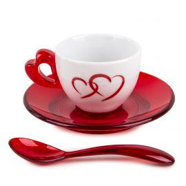 SET 2 TASSES A CAFE+SOUS TASSES 26760065 ROUGE