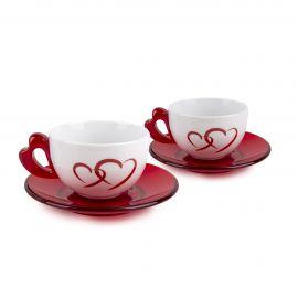 Set de 2 tasses à cappuccino + sous tasses coeur rouge GUZZINI
