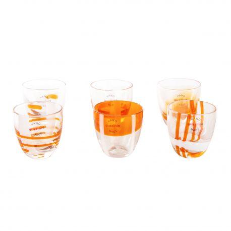 Lot de 6 verres à liqueur orange GUZZINI marque pas cher prix dégriffés destockage