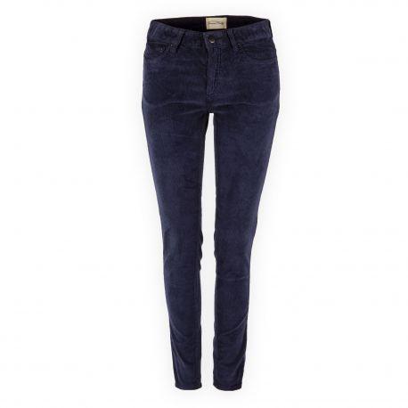 Pantalon bleu marine en velours femme Elyria AMERICAN VINTAGE marque pas cher prix dégriffés destockage