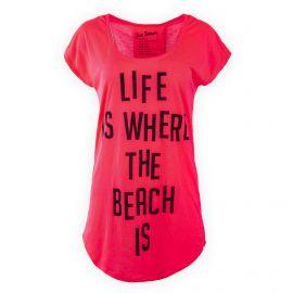 Tee shirt long rouge fluo femme Liquittiz Rockiz UNDIZ marque pas cher prix dégriffés destockage