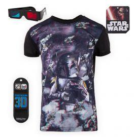 Tee shirt Star Wars 3D Relief Chasseur de primes Boba Fett Enfant FREEGUN marque pas cher prix dégriffés destockage