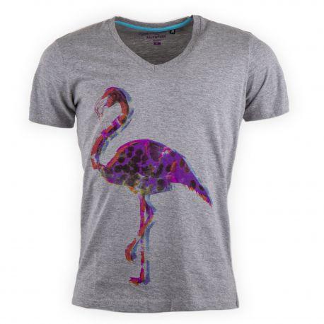 Tee shirt gris col V Flamingo homme BEST MOUNTAIN marque pas cher prix dégriffés destockage