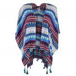 Poncho bleu motif ethnique femme BEST MOUNTAIN marque pas cher prix dégriffés destockage