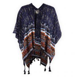 Poncho bleu foncé motif aztèque femme BEST MOUNTAIN