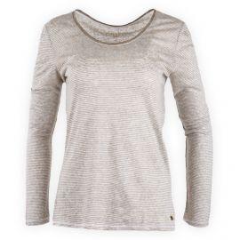 Tee shirt à rayures en lin manches longues femme TOMMY HILFIGER marque pas cher prix dégriffés destockage