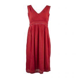 Robe mi-longue ocre rouge Femme DDP