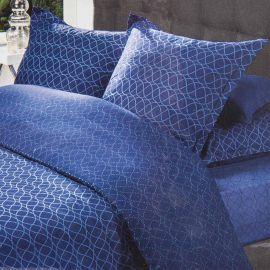 Parure de lit housse de couette 260x240 & taies d'oreiller percale de coton AZZARO marque pas cher prix dégriffés destockage