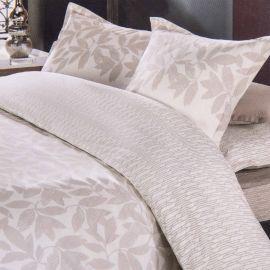 Parure de lit beige housse de couette 260x240 & taies d'oreiller percale de coton AZZARO marque pas cher prix dégriffés desto...