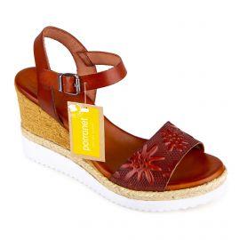 Sandales compensées marron motif fleurs Femme PORRONET