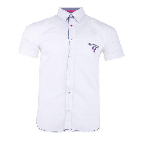 Chemise blanche manches courtes Homme RUCKFIELD marque pas cher prix dégriffés destockage