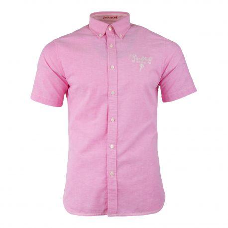 Chemise manches courtes rose Homme RUCKFIELD marque pas cher prix dégriffés destockage