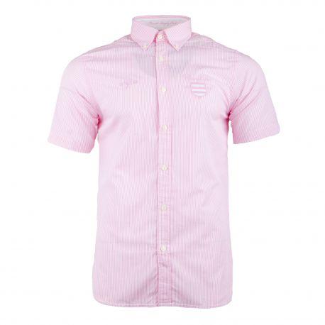 Chemise manches courtes rose à rayures Homme RUCKFIELD marque pas cher prix dégriffés destockage