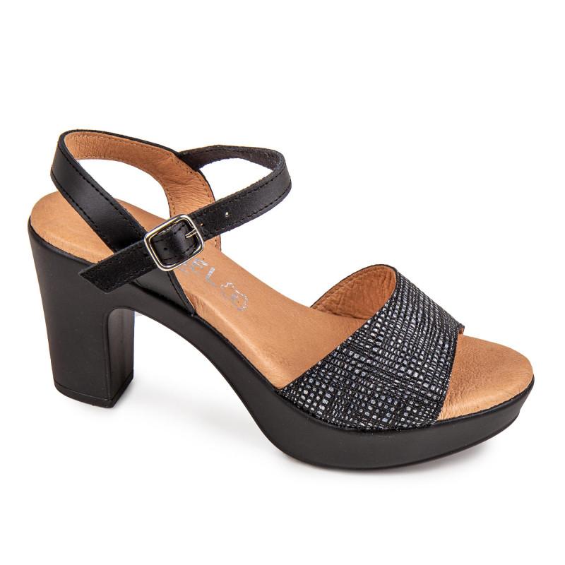 Sandales à talons en cuir Femme ISSA MIEL marque pas cher prix dégriffés destockage