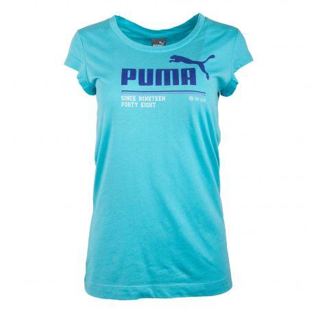 Tee shirt manches courtes bleu turquoise 830635-02 Femme PUMA marque pas cher prix dégriffés destockage