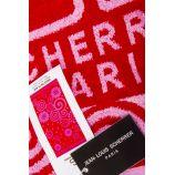 Drap de plage rouge imprimé 90x180 JEAN LOUIS SCHERRER marque pas cher prix dégriffés destockage