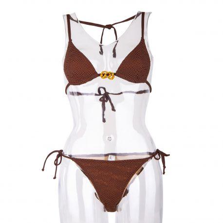 Maillot de bain triangle marron dentelle Femme ANTIGEL marque pas cher prix dégriffés destockage