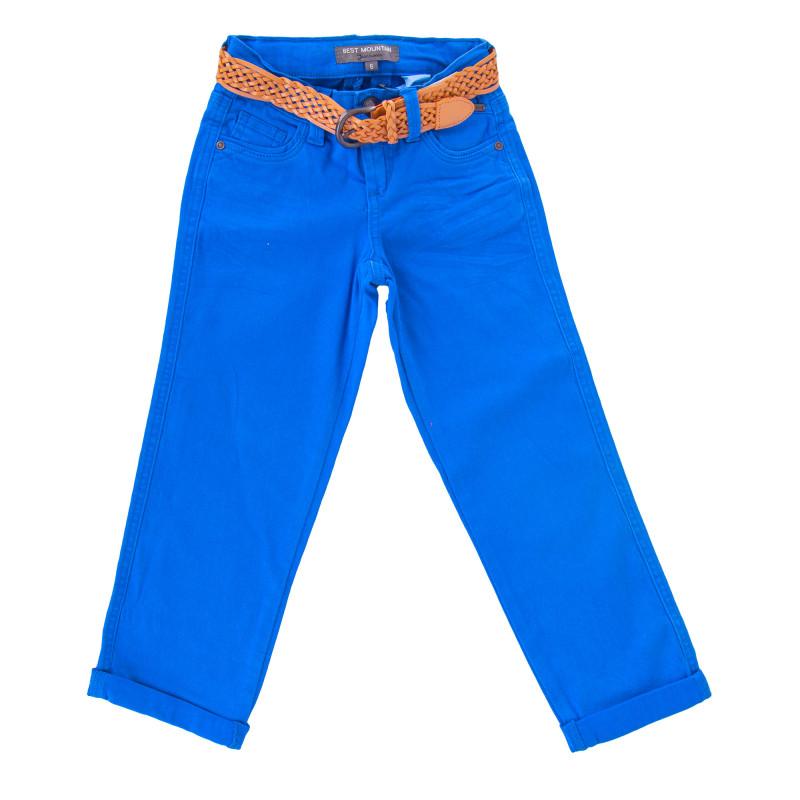 Pantalon en toile coupe droite ceinture tressée beige fille BEST MOUNTAIN marque pas cher prix dégriffés destockage