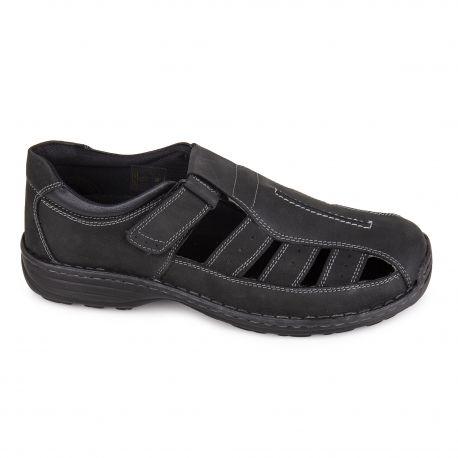 Sandales en cuir noir c07253garry Homme ROADSIGN marque pas cher prix dégriffés destockage