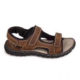 Sandales en cuir marron c07301laurent Homme ROADSIGN marque pas cher prix dégriffés destockage