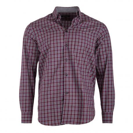 Chemise bordeaux à carreaux coupe droite manches longues Homme TED LAPIDUS marque pas cher prix dégriffés destockage