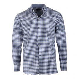 Chemise bleue à carreaux coupe droite manches longues Homme TED LAPIDUS