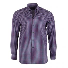 Chemise bicolore à carreaux manches longues Homme TED LAPIDUS