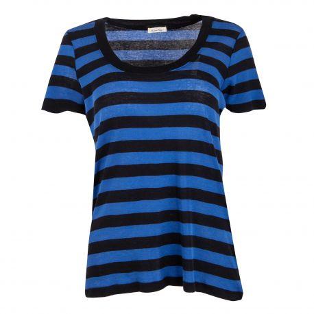 Tee-shirt bleu/noir rayé manches courtes Femme AMERICAN VINTAGE marque pas cher prix dégriffés destockage