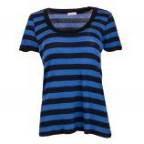 Tee-shirt bleu/noir rayé manches courtes Femme AMERICAN VINTAGE