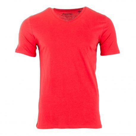 Tee shirt rouge manches courtes col V Homme JACK AND JONES marque pas cher prix dégriffés destockage